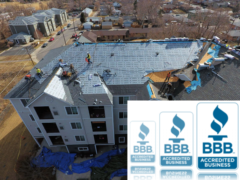 Top roofing company replacing 4-story HOA roofing system, along with BBB logo