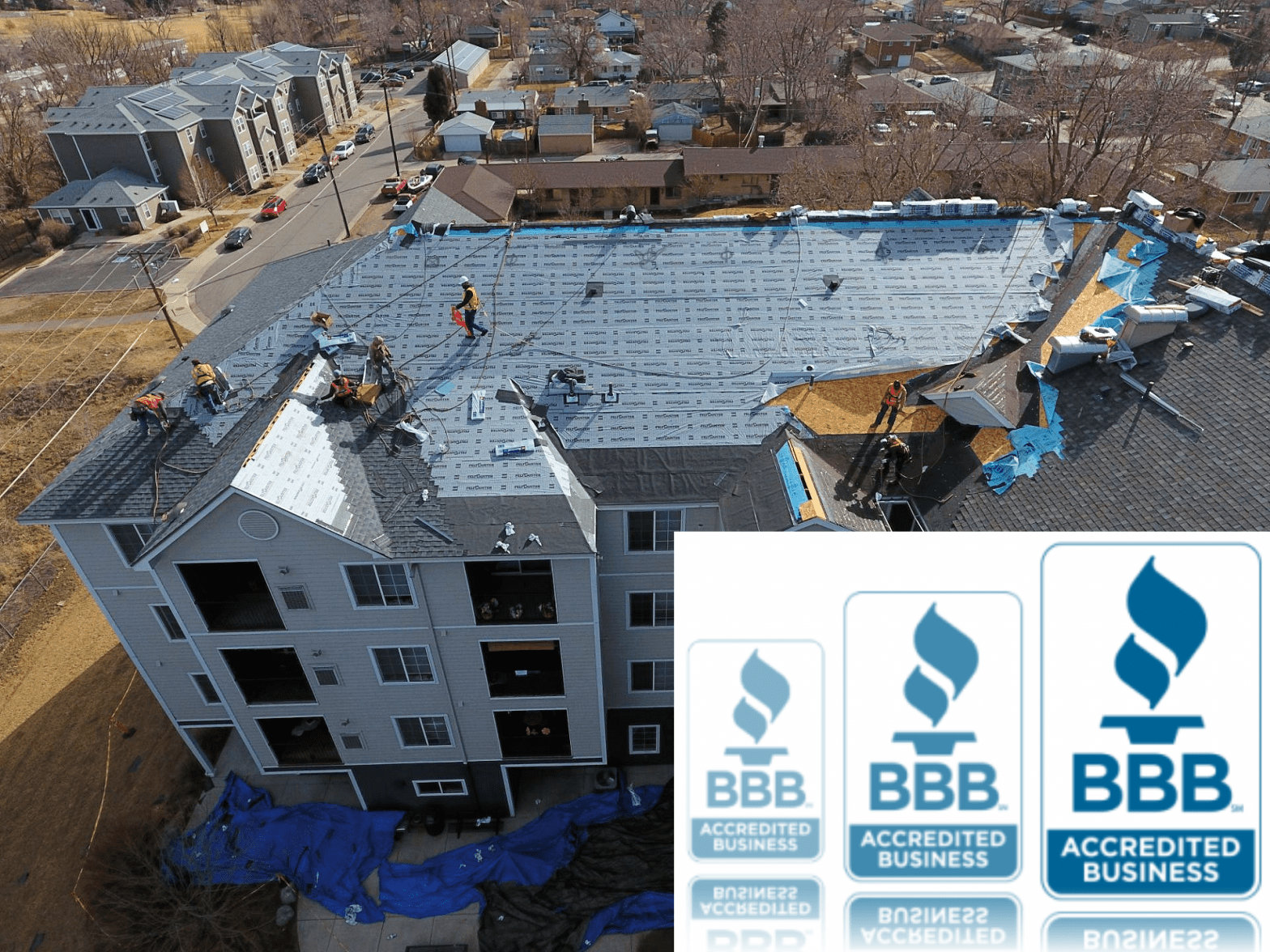 Top roofing company replacing 4-story HOA roofing system